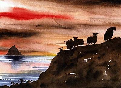 Painting - Sunset On Sceilig Micil Kerry by Val Byrne