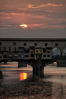 Photograph - Sunset On The Arno River by Melany Sarafis
