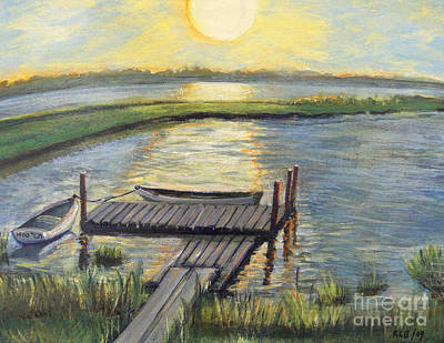 Art Print featuring the painting Sunset On The Bay by Rita Brown