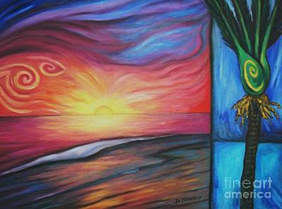 Print featuring the painting Sunset On The Beach And Nikau Palm by Dianne  Connolly
