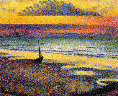 Abstract Seascape Digital Art - Sunset On The Beach by Georges Lemmen