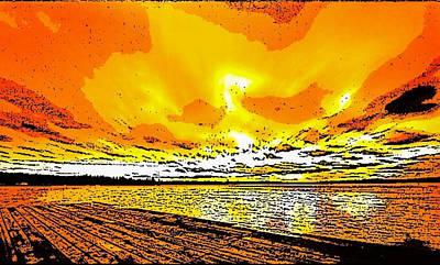 Digital Art - Sunset On The Beach by Karen Buford