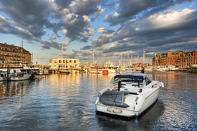 Boat Photograph - Sunset On The Boston Waterfront by Mark E Tisdale