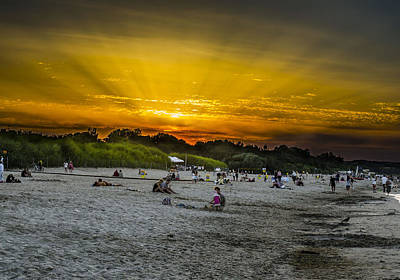 Sunset On The Crowded Beach Art Print by Adam Budziarek