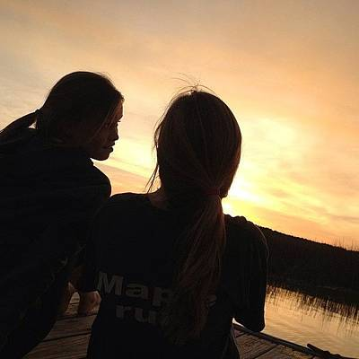 Marsh Photograph - Sunset On The Dock With The Sistaaaa by Megan Nicole
