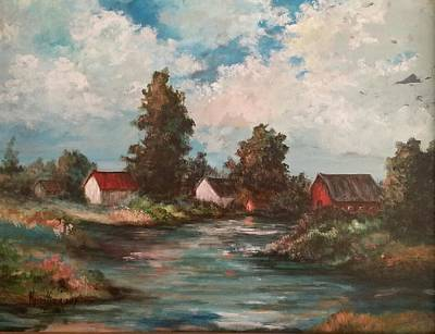 Painting - Sunset On The Farm Pond by Kendra Sorum