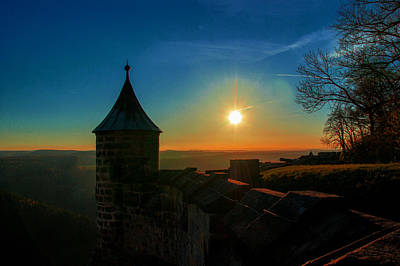 Sunset On The Fortress Koenigstein Art Print