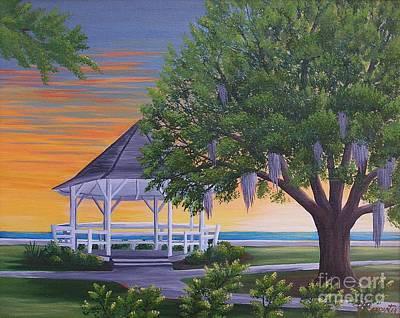 Sunset On The Gazeebo Art Print
