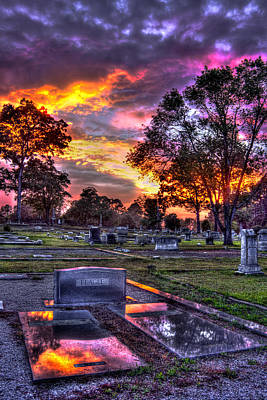 Photograph - Sunset On The Greensboro Cemetery Lot by Reid Callaway