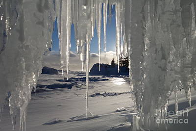 Sunset On The Icicles Art Print by Sandra Updyke