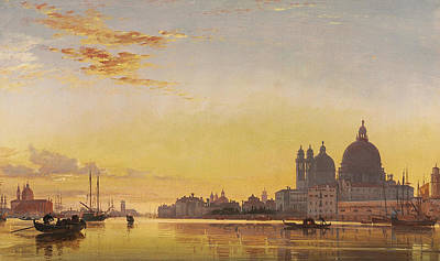 Scenes Of Italy Painting - Sunset On The Lagoon Of Venice by Edward William Cooke