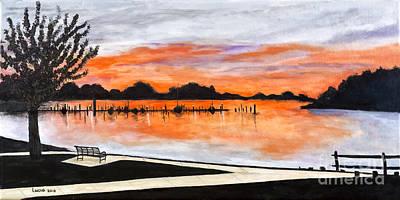 Park Benches Photograph - Sunset On The Lake By Lucia Van Hemert by Sheldon Kralstein