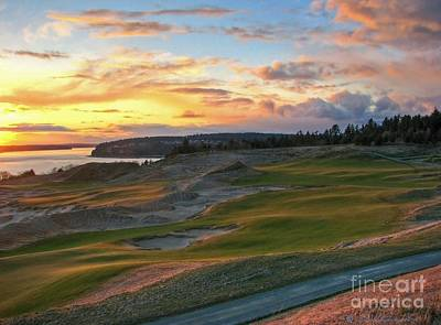 Us Open Photograph - Sunset On The Links - Chambers Bay Golf Course by Chris Anderson
