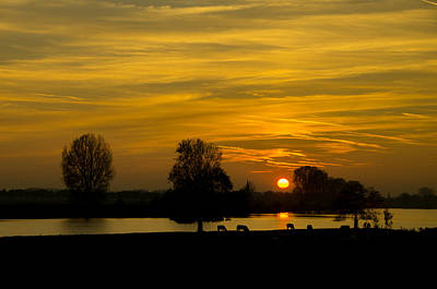 Sunset On The Maas River Art Print