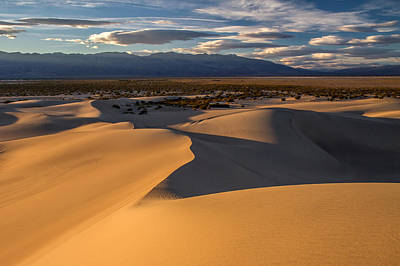Photograph - Sunset On The Mesquite Sand Dunes In Death Valley National Park by Pierre Leclerc Photography