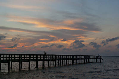 Art Print featuring the photograph Sunset On The Pier by Judy  Johnson