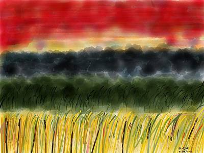 Prairie Sunset Digital Art - Sunset On The Plains by Parijat Bhattacharjee