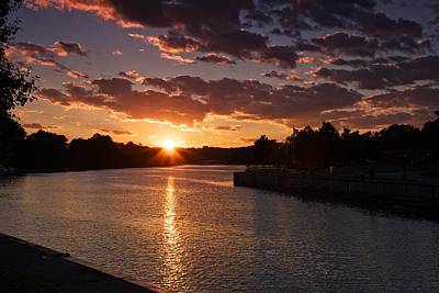Art Print featuring the photograph Sunset On The River by Dave Files
