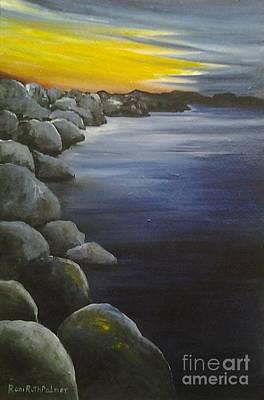Sunset On The Rocks  Art Print by Roni Ruth Palmer