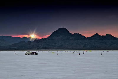 Classic Hot Rod Photograph - Sunset On The Salt Bonneville 2012 by Holly Martin