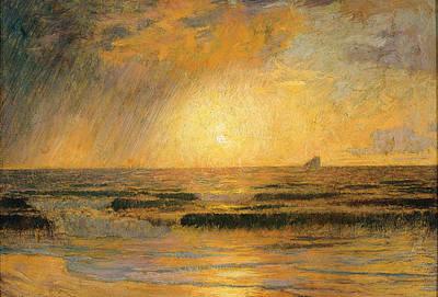 Menard Painting - Sunset On The Sea by Rene Menard