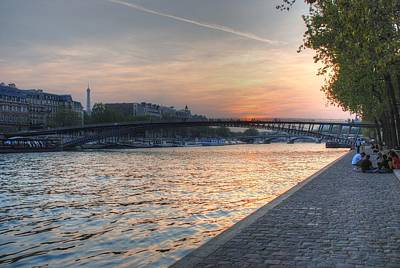 Art Print featuring the photograph Sunset On The Seine by Jennifer Ancker
