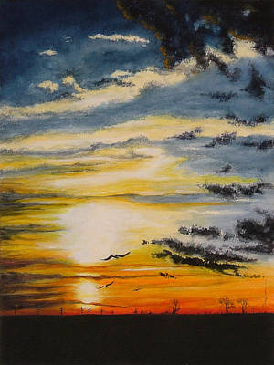 Painting - Sunset On The Texas Plains by Mary Dove