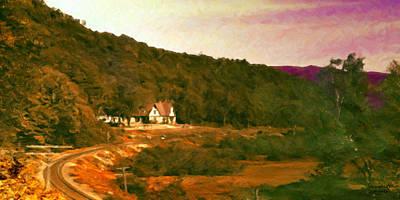 Art Print featuring the digital art Sunset On The Tracks by Spyder Webb