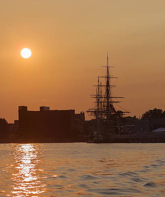 Photograph - Sunset On The Uss Constitution by Brian MacLean