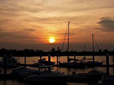 Photograph - Sunset On The Waccamaw Marina by Sandra Anderson