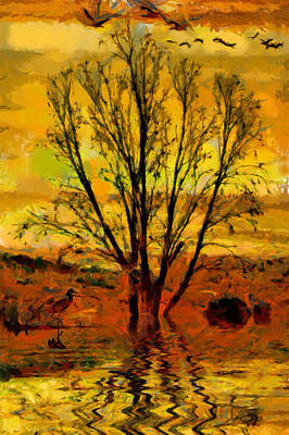 Waterfowl Painting - Sunset On The Wetlands by Anthony Caruso