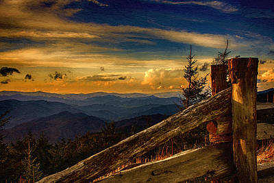 Painting - Sunset On Top Of Mount Mitchell by John Haldane