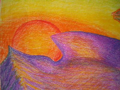 Sunset On Wavy Mountains Detail Of Sun Art Print