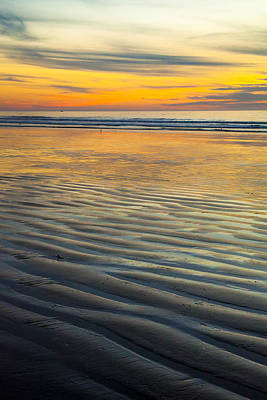 Photograph - Sunset On Wet Sandy Beach Seascape Fine Art Photography Print  by Jerry Cowart