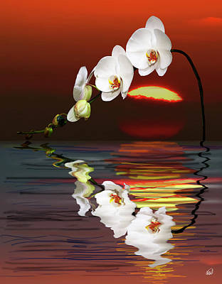 Featured Images Painting - Sunset Orchids by Angela Stanton