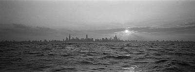 Sunset Over A City, Chicago, Illinois Art Print by Panoramic Images