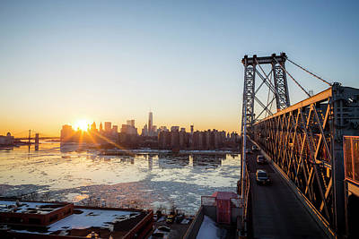 George Washington Bridge Photograph - Sunset Over A City While On A Bridge by Mat Rick Photography