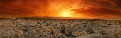 Sunset Over A Desert, Palm Springs Art Print by Panoramic Images