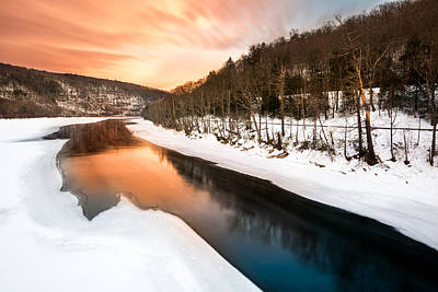 Photograph - Sunset Over A Frozen Delaware River by Mihai Andritoiu