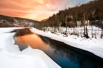 Garden Fruits - Sunset over a frozen Delaware river by Mihai Andritoiu