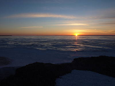 Photograph - Sunset Over A Frozen Lake Erie - 1 by Jeffrey Peterson