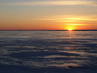 Photograph - Sunset Over A Frozen Lake Erie - 2 by Jeffrey Peterson