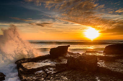 Storm Clouds Sunset Twilight Water Photograph - Sunset Over A Rough Sea I by Marco Oliveira