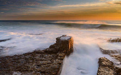 Storm Clouds Sunset Twilight Water Photograph - Sunset Over A Rough Sea II by Marco Oliveira