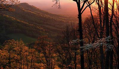 Sunset Over A Springtime Landscape Art Print