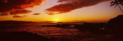 Sunset Over An Ocean, Oahu, Hawaii, Usa Art Print by Panoramic Images