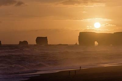 Portal Photograph - Sunset Over Arch And Sea Stacks by Dr Juerg Alean