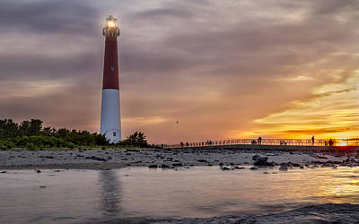 Sunset Over Barnegat Lighthouse Art Print by Eduard Moldoveanu