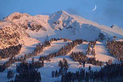 Snowboarding Photograph - Sunset Over Blackcomb Mountain by Pierre Leclerc Photography