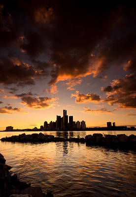 Ontario Photograph - Sunset Over Detroit by Cale Best